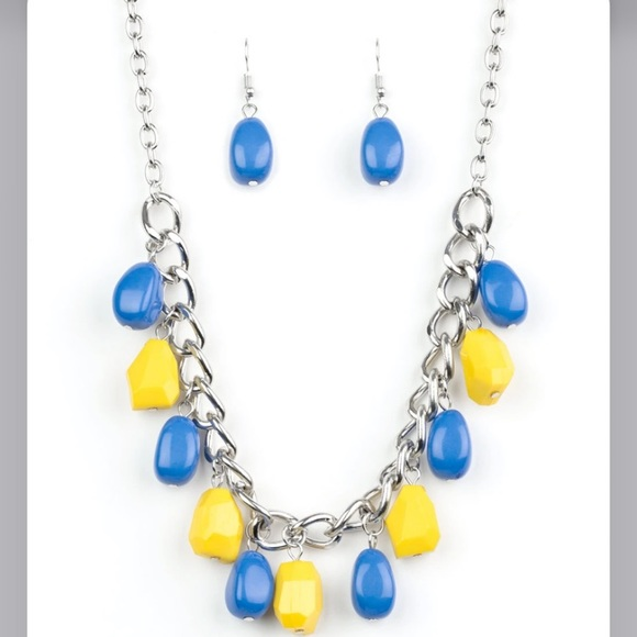 Blue and yellow necklace with earrings